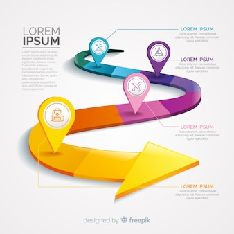 Infographie avec étape et options