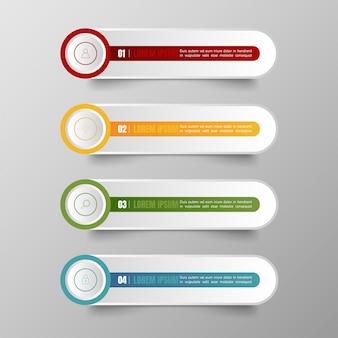 Infographie bannières modèle multicolore vector set et zone de texte pour la présentation.