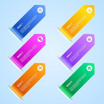 Infographie de bannières d'options colorées. .