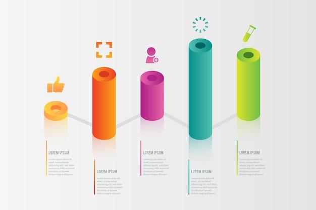 Infographie de barres 3d colorées