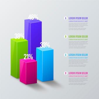 Infographie de barres 3d