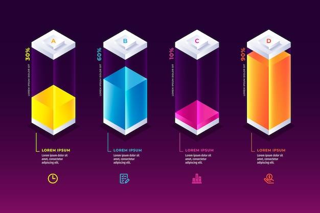 Infographie de barres colorées