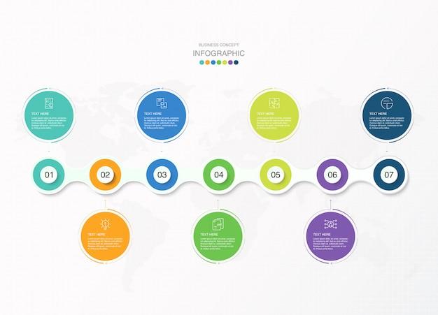 Infographie de base, 7 options, pièces ou processus.