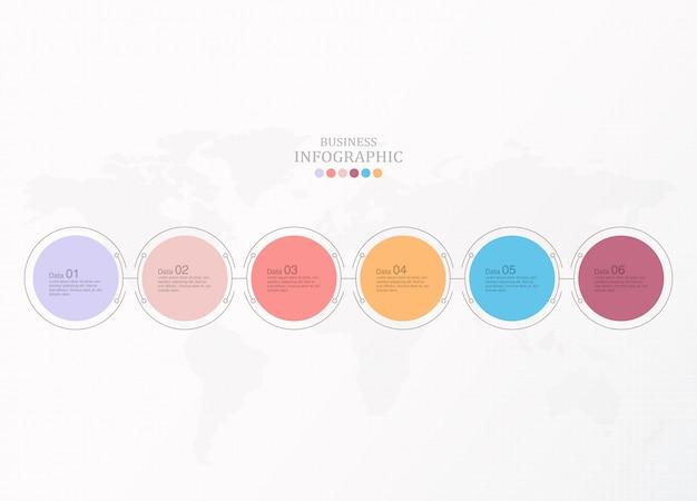 Infographie de base pour le concept d'entreprise actuel. 6 options, pièces ou processus.