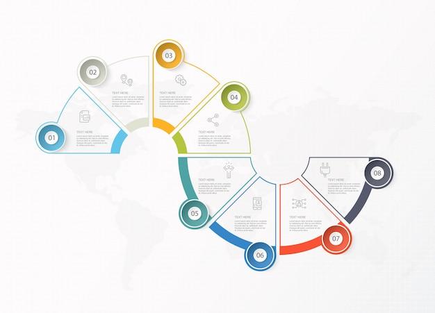 Infographie de base pour le concept d'entreprise actuel. éléments abstraits, 8 options.