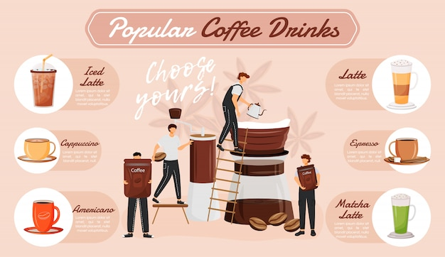 Infographie de boissons au café populaire