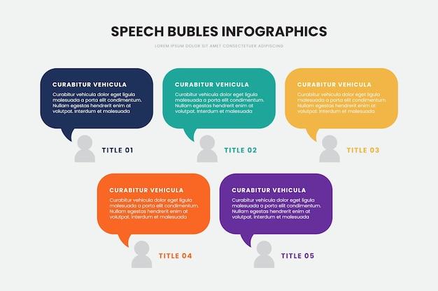 Infographie de bulles de discours design plat