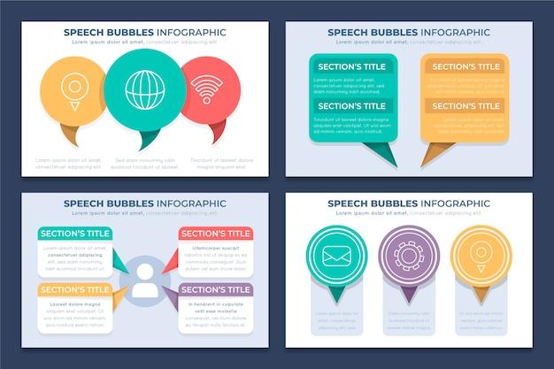 Infographie de bulles de discours plat