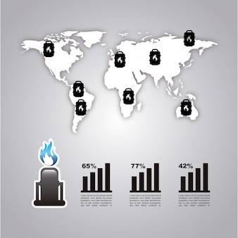 Infographie carburant sur illustration vectorielle fond gris