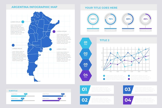 Infographie de la carte de l'argentine en conception linéaire