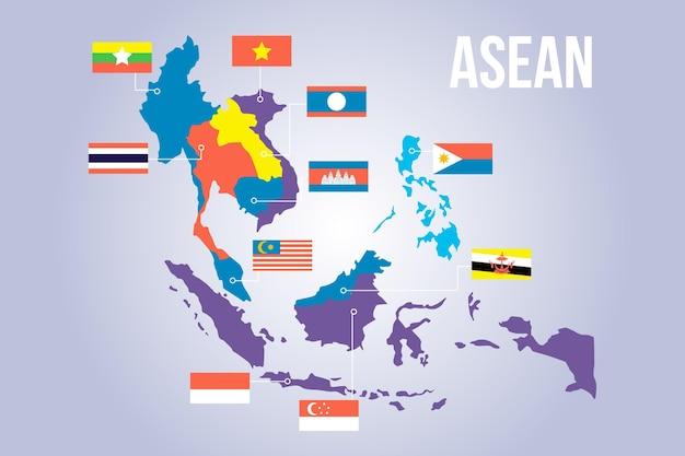 Infographie de la carte de l'asean