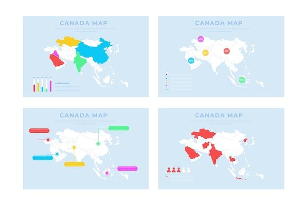 Infographie de la carte de l'asie dessinée à la main
