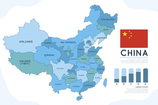 Infographie de carte de chine dessinée à la main