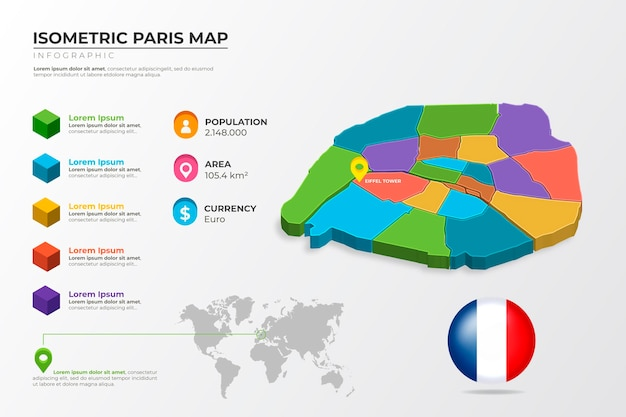 Infographie de carte colorée de paris isométrique