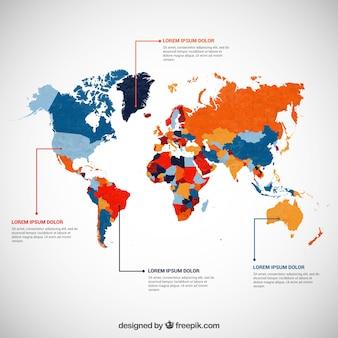 Infographie avec une carte en couleur du monde