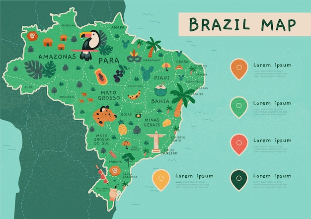 Infographie de la carte du brésil dessinée à la main