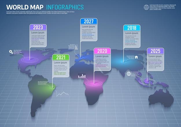Infographie de la carte du monde, commerce international et données mondiales