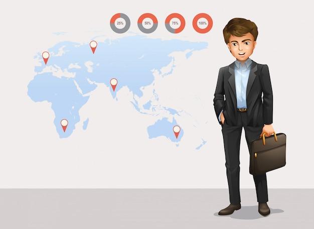 Infographie avec carte du monde et homme d'affaires