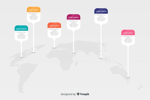 Infographie de carte du monde avec des options d'icône