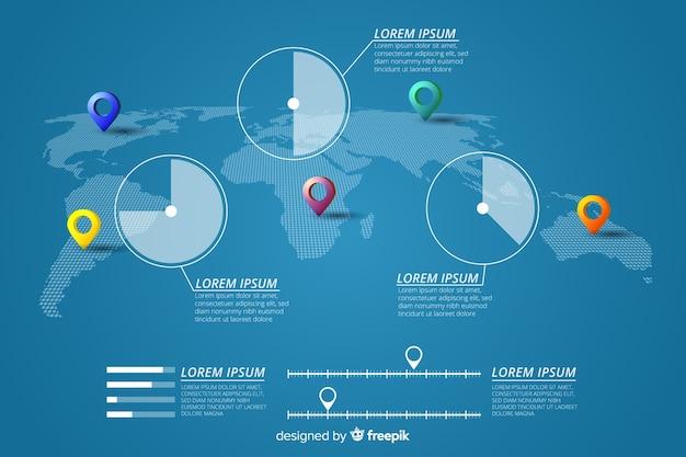 Infographie de carte du monde avec des pinpoints et des statistiques