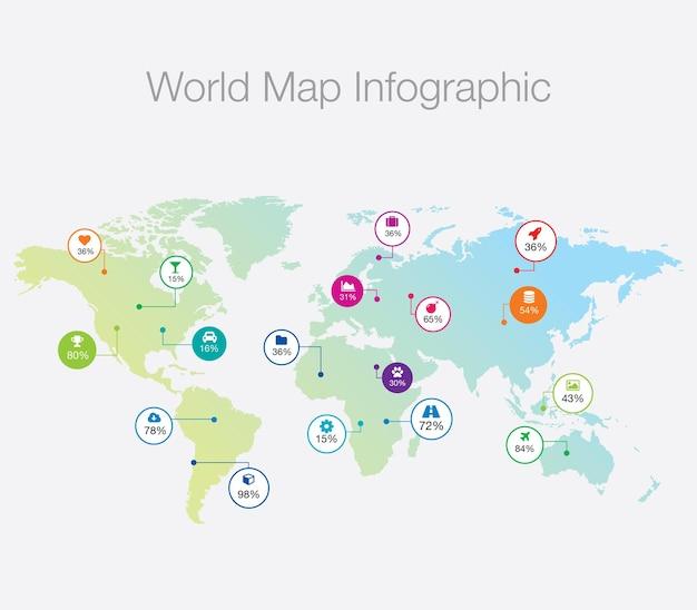Infographie de la carte du monde
