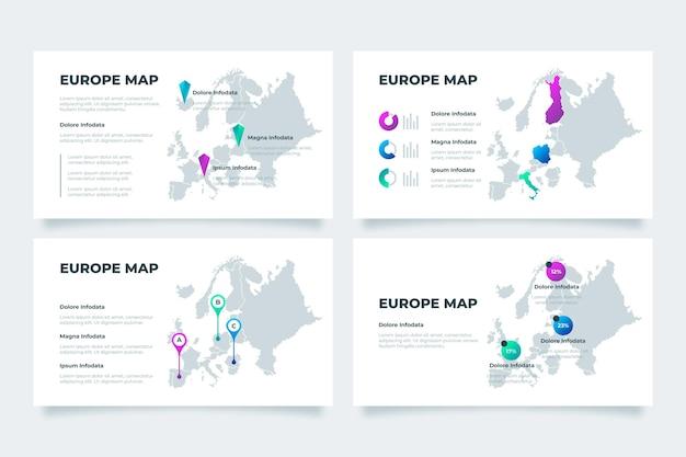 Infographie de la carte de l'europe dégradé