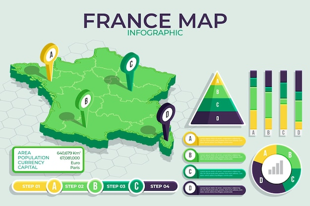 Infographie de carte de france isométrique