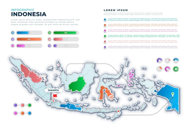 Infographie de carte de gradient indonésie