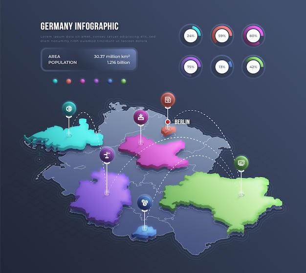 Infographie de la carte isométrique de l'allemagne