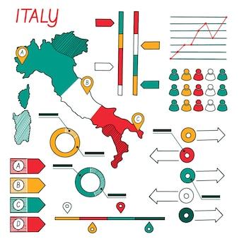 Infographie de la carte de l'italie dessinée à la main