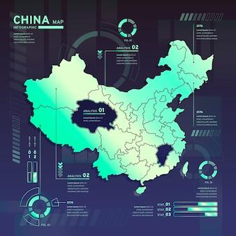 Infographie de la carte néon de chine au design plat
