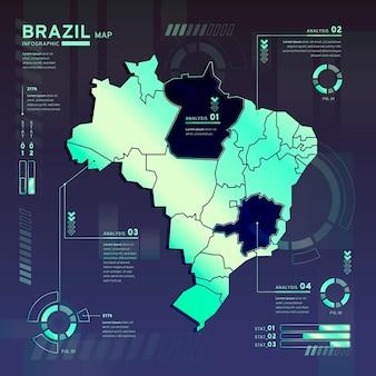 Infographie de la carte néon du brésil au design plat