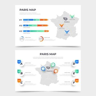 Infographie de carte de paris de style dégradé