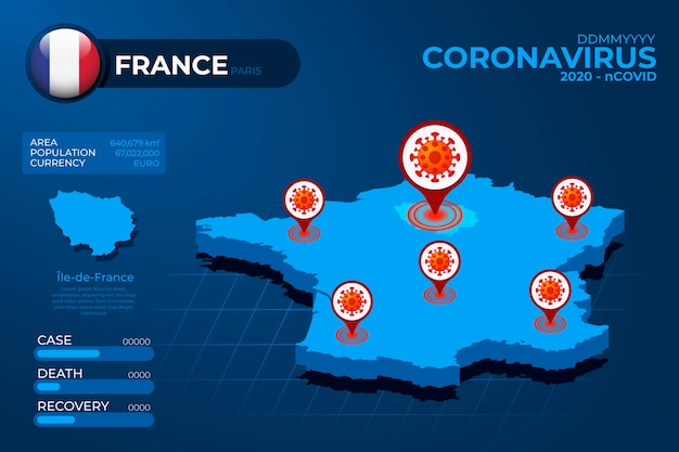Infographie de carte de pays de coronavirus