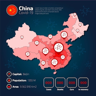 Infographie de la carte de pays de covid-19 en chine