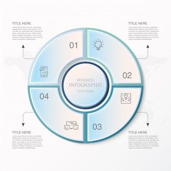 Infographie de cercle bleu et icônes pour le concept d'entreprise actuelle.