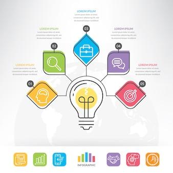 Infographie de cercle idée vecteur ampoule