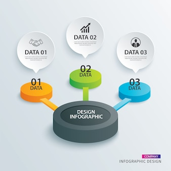 Infographie cercle papier avec 3 modèles de données.