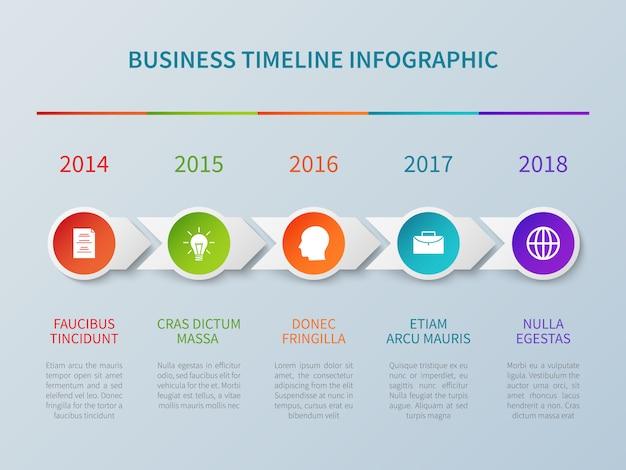 Infographie de chronologie des affaires dans un style origami de papier avec options de numéro