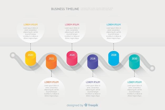 Infographie de la chronologie des affaires avec des données de texte