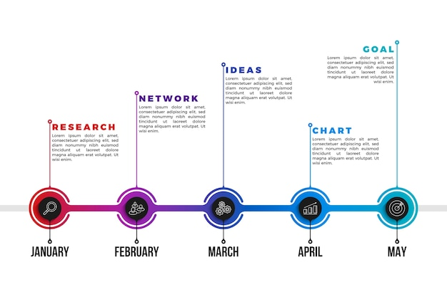 Infographie de chronologie de dégradé professionnel