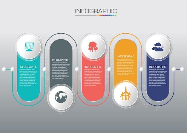 Infographie de la chronologie de l & # 39; entreprise avec des icônes pour le diagramme moderne de l & # 39; élément de jalon modèle abstrait et le graphique de présentation