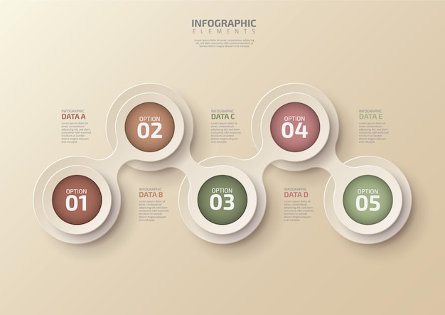 Infographie de la chronologie de l'entreprise moderne avec un cercle de 5 étapes conçu pour le diagramme des éléments d'arrière-plan