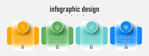 L'infographie de la chronologie des étapes de l'élément conçoit un modèle d'effet de verre transparent avec un modèle à 4 options