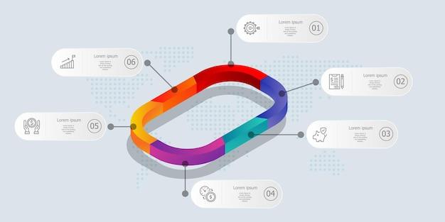 Infographie de chronologie isométrique 6 étapes avec des icônes pour les entreprises et la présentation
