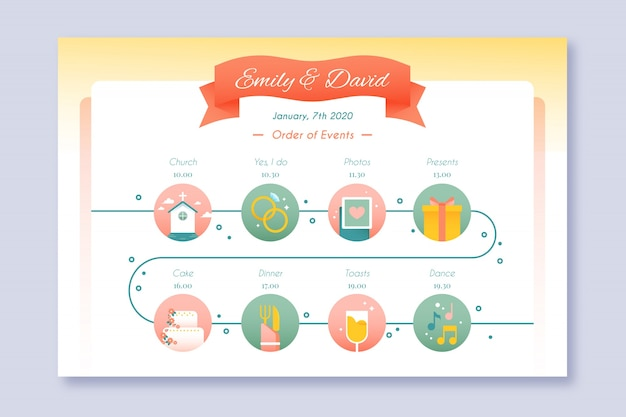 Infographie chronologie de mariage dans le style linéaire