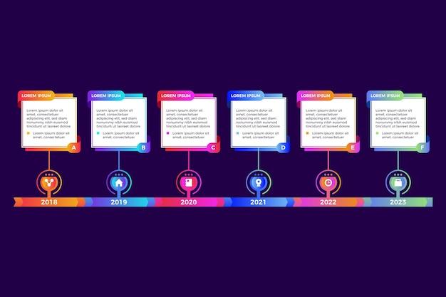 Infographie de chronologie de modèle de dégradé