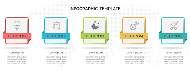 Infographie de chronologie moderne 5 options.