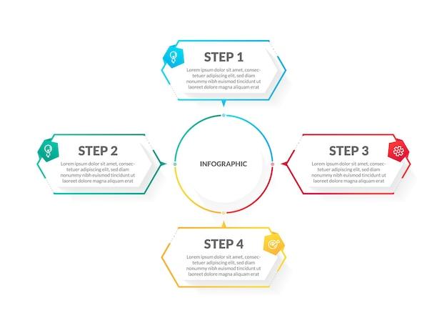 Infographie de la chronologie moderne et colorée en 4 étapes. parfait pour la présentation, le diagramme de processus, le flux de travail et la bannière