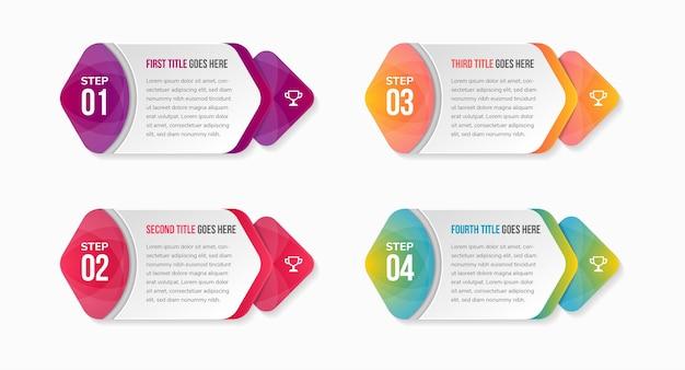 Infographie de la chronologie des processus d'affaires avec des options de 4 étapes